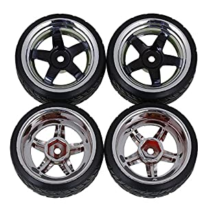 Yiguo Plating 5-spoke Wheel Rims and Plastic Diagonal Pattern Tires for HSP HPI RC 1:10 On Road Drift Car set of 4