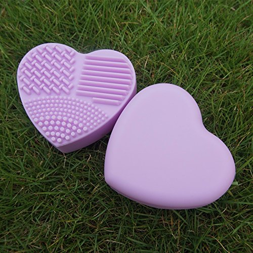 QiHorr TM 1PC Makeup Brush wash Cleaner Heart Shaped Silicone Clean brushes Wash Brush Silica Glove Scrubber Board Cosmetic Cleaning Tools [Purple]
