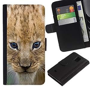 All Phone Most Case / Oferta Especial Cáscara Funda de cuero Monedero Cubierta de proteccion Caso / Wallet Case for Samsung Galaxy S5 Mini, SM-G800 // Lion Cub Puppy Wild Cat Africa Safari Brown Eyes