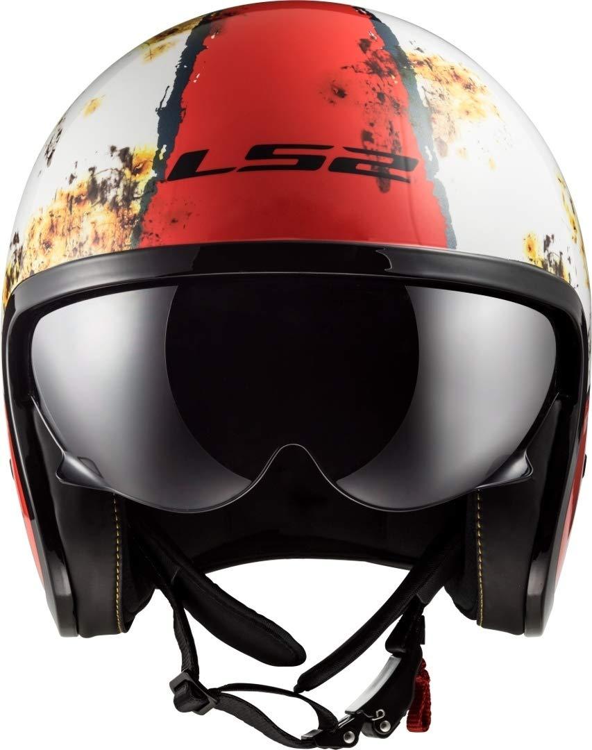 Weiss//Rot L LS2 Motorradhelm OF599 SPITFIRE RUST Weiss Rot