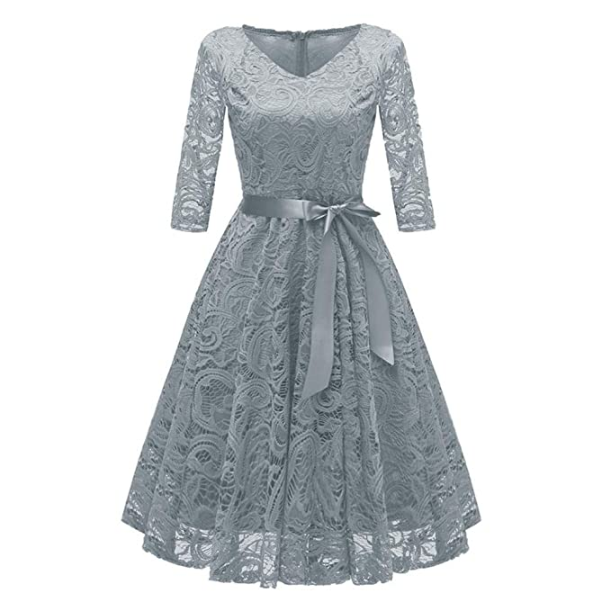 a6d7f6d6b8f Xmiral Women Dress Vintage Princess Floral Solid Lace Cocktail V-Neck Party  A-Line Dress  Amazon.co.uk  Clothing
