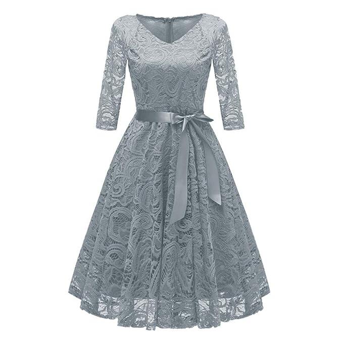 a6d7f6d6b8f Xmiral Women Dress Vintage Princess Floral Solid Lace Cocktail V-Neck Party  A-Line Dress  Amazon.co.uk  Clothing