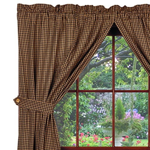 Berry Vine Panels, 72''x63'', Black Check, Country Primitive Drape Curtains by Piper Classics (Image #1)