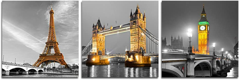 CrmArt - 3 Panels Cityscape Building Painting Wall Art - Eiffel Tower & Tower Bridge & Big Ben Tower - Canvas Art Home Decoration - 12x12 inches