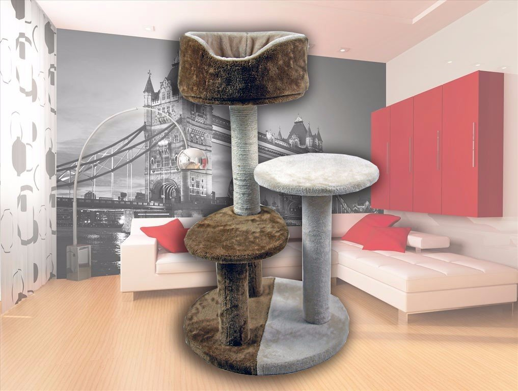 FLA 30'' Hiding Cat Tree Kitty Tree Two-Tone Private Soft-Sided Furniture Scratch Post Pole Pet Play House