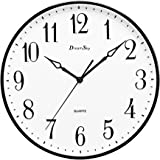 DreamSky 13 1/2 Inch Extra Large Wall clock ,Non - Ticking & Silent Decorative Indoor/Outdoor Kitchen Living Room Retro Clock ,AA Battery Operated , Intuitive Number Display
