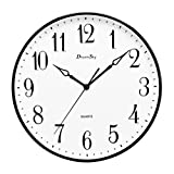 DreamSky 13 1/2 Inch Extra Large Wall clock , Non - Ticking & Silent Decorative Indoor/Outdoor Kitchen Living Room Round Retro Clock , AA Battery Operated Clocks .