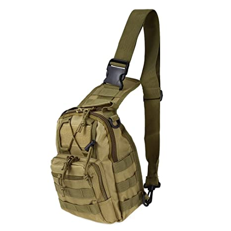 Men Sling Chest Crossbody Bag Messenger Shoulder Bag Camo Molle Travel Sports