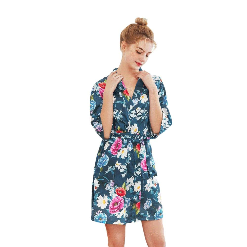 Forall-Ms Bata De Satén para Mujer, Batas De Seda para Damas, Túnica Corta, TúNica De Noche, Flores, Pijamas Sexy,Blue-M: Amazon.es: Hogar