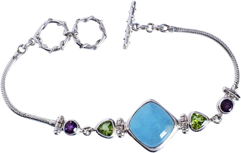 Ravishing Impressions Joyería Auténtica Aquamarine, Peridot & Amatista Piedra preciosa 925 Pulsera de plata de ley maciza, joyería hecha a mano, para mujeres FSJ-5014