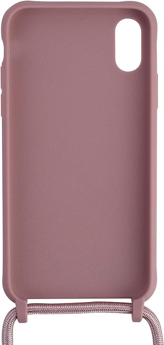 Ququcheng Funda Compatible con iPhone X//XS,Ajustable Collar Correa de Cuello Cord/ón Cuerda Carcasa TPU Bumper Silicona Skin Caso para iPhone X//XS-Rojo