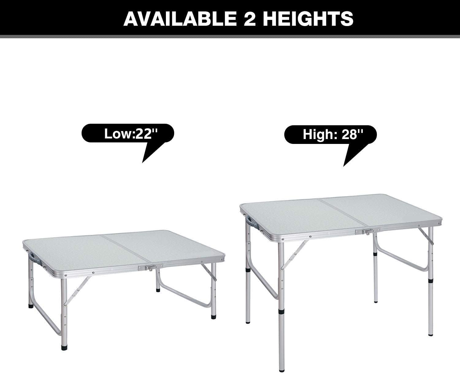 Cimiva Aluminum Folding Table 4 Foot, Adjustable Height Lightweight Portable Camping Table for Picnic Beach Outdoor Indoor, White 48 x 24 inches : Garden & Outdoor