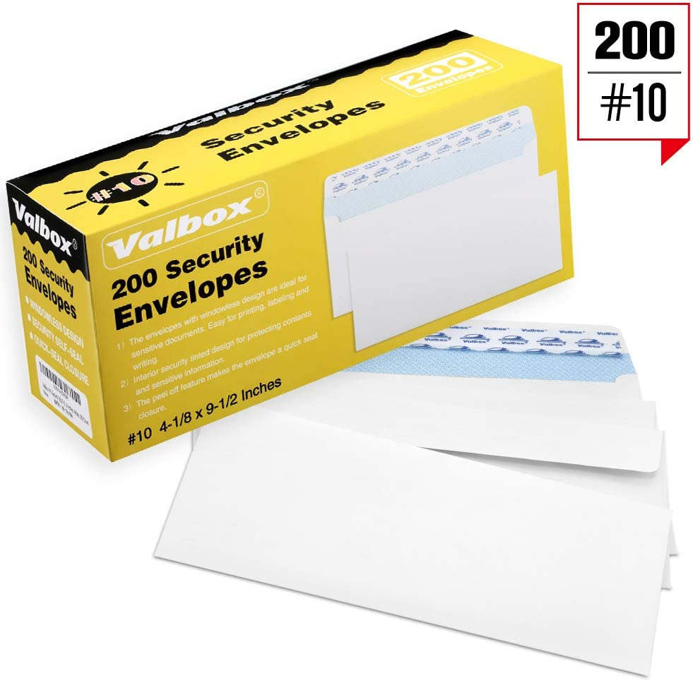ValBox 200 Count #10 Self-Seal Security Envelopes, Windowless Design, Security Tint Pattern for Secure Mailing Envelopes, 4-1/8x9-1/2 Inches, White, Business Envelopes