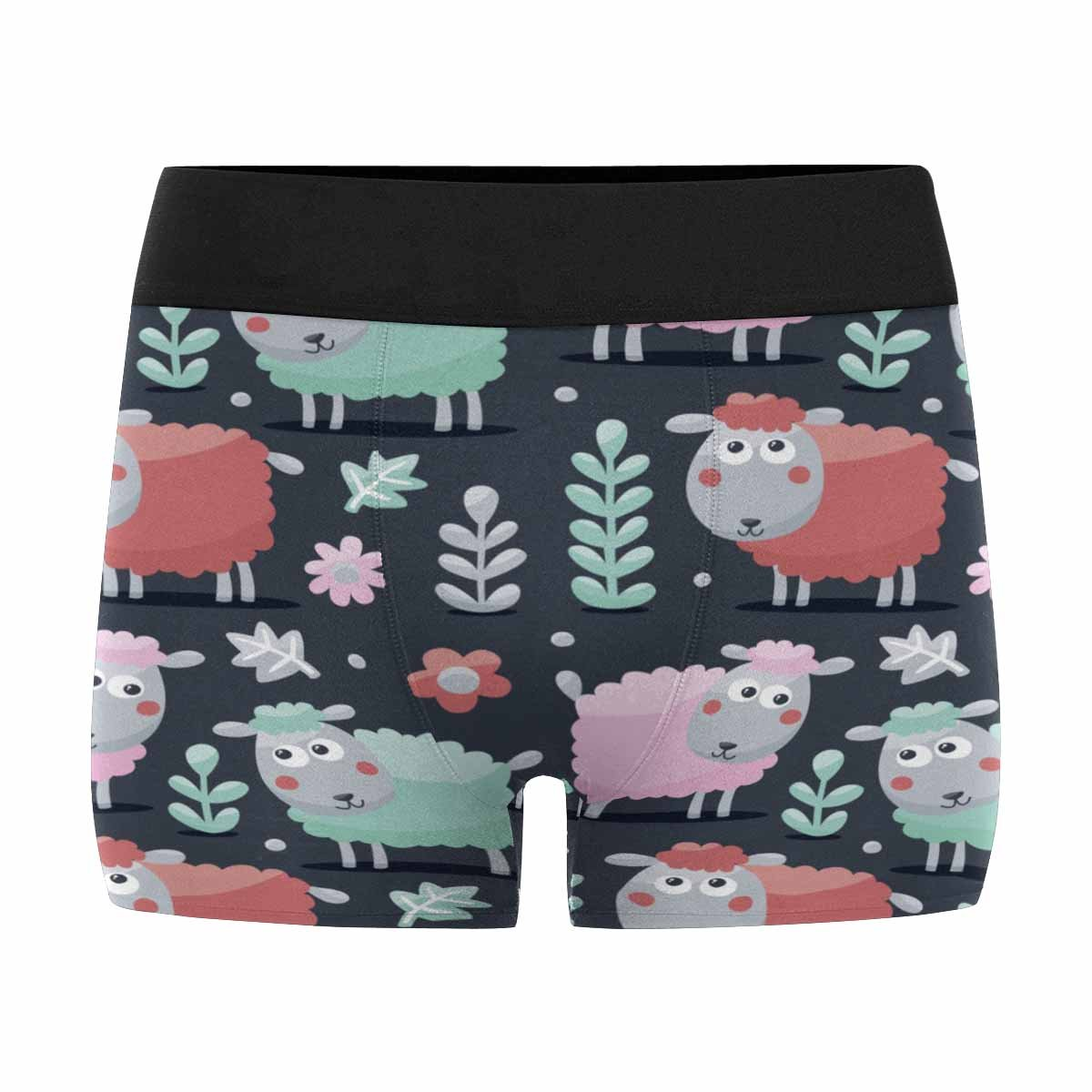 INTERESTPRINT Mens Boxer Briefs Underwear Cute Pattern Made with Sheep XS-3XL Animals Plants and Bulbs Flowers