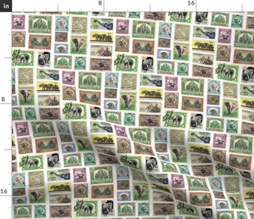 Spoonflower Elephant Stamp Collection Fabric - Stamp Collection Postage Stamp Elephant African Indian Stamp Square Geometric by Weavingmajor Printed on Petal Signature Cotton Fabric by The Yard