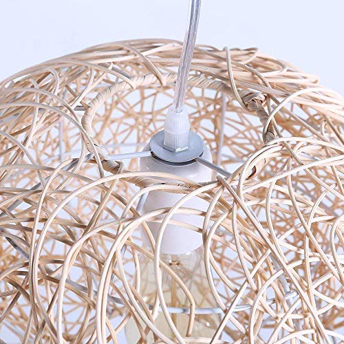 Arturesthome Rustic Rattan Pendant Light, Ball Shape Wicker Lamp Shade, Natural Color Light Fixture, Basket Woven