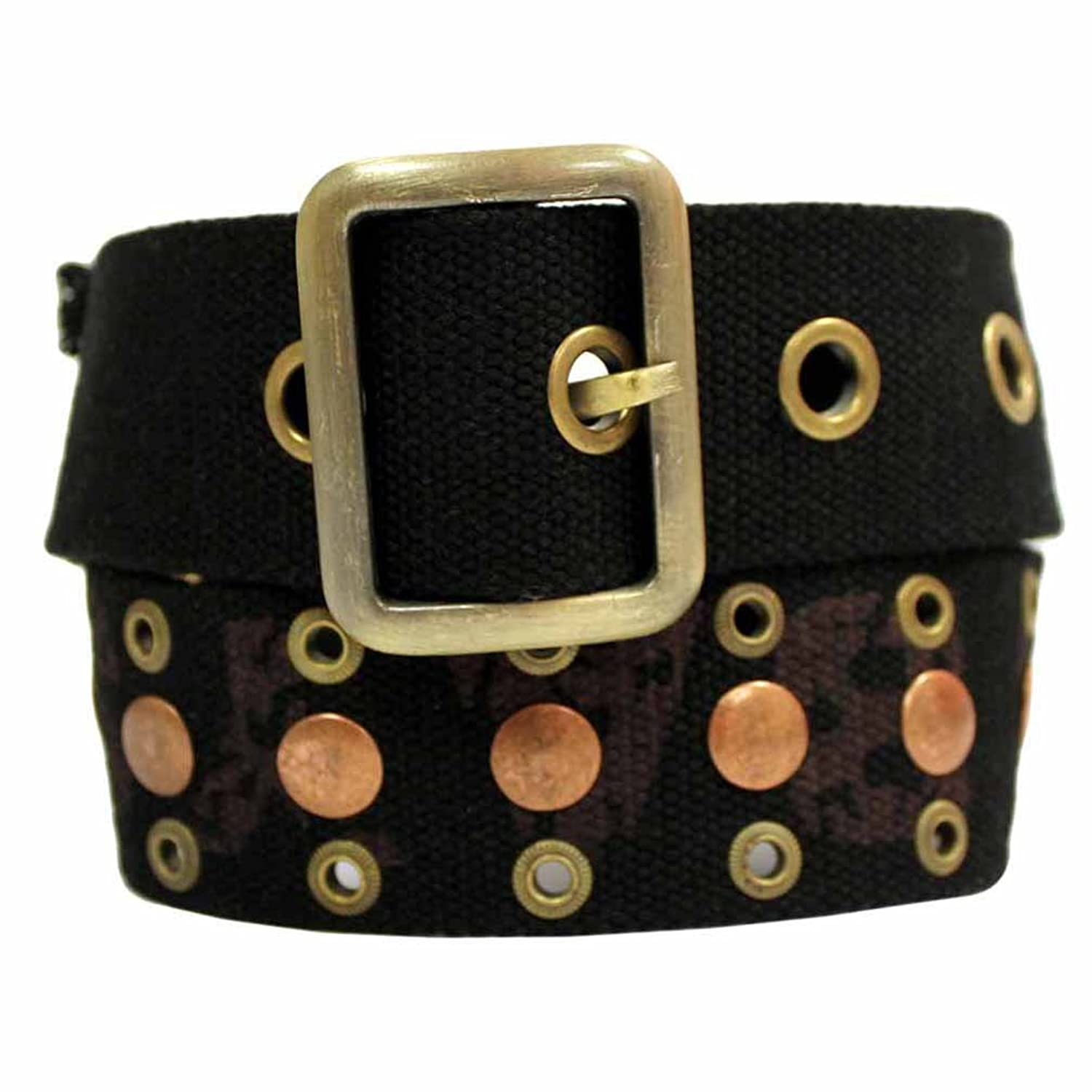 Luxury Divas Canvas Belt With Antiqued Brass Grommets