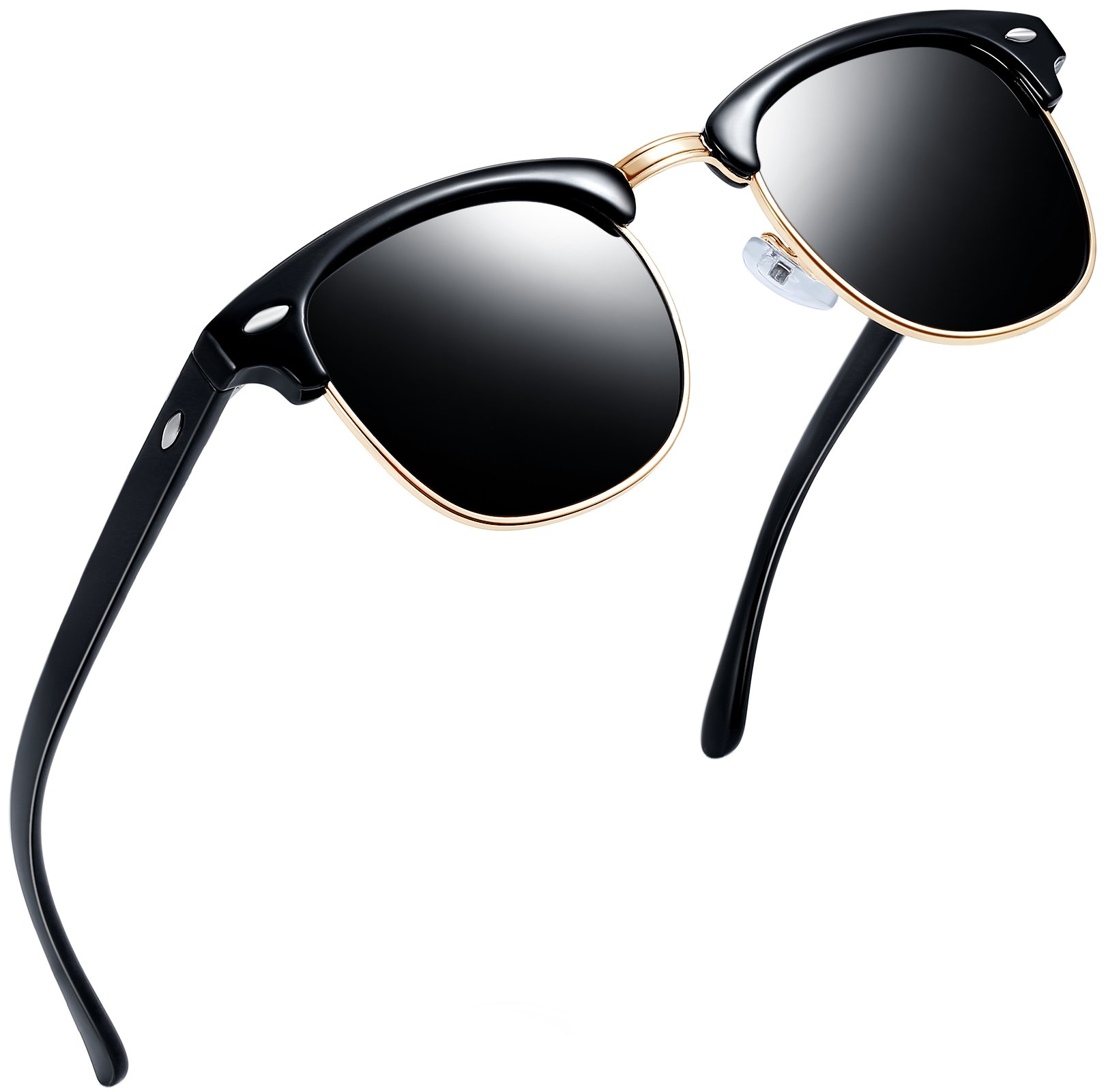 808d50e080 Galleon - Joopin Semi Rimless Polarized Sunglasses Women Men Retro Brand  Sun Glasses (Brilliant Black Frame Grey Lens)