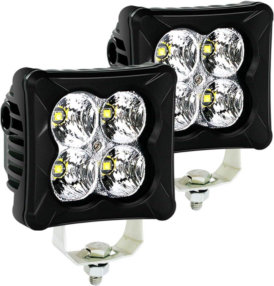 LED Pods Flood Light Bar 4WDKING 2PCS 40W LED Off Road Work Light Truck Fog Lamp Tail Light IP69K Waterproof ATV Cube Lights Fit for FORD F150 Polaris RZR JEEP Wrangler
