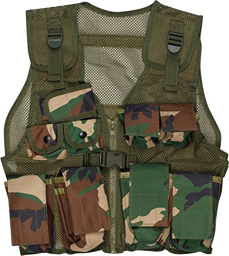 EXPLORER Kids Tactical Vest Woodland Camo 9 Pockets Adjustable Army Military Play Kids Army All Terrain Camo Combat Vest - Fits Ages 5-13 Yrs
