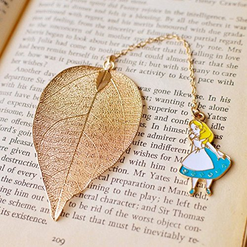 Chris.W Exquisite Leaf Vein Bookmarks Book Marker w/ Alice Pendant for School Supplies Stationery, Creative Gift for Girls Boys Adults Bookworms