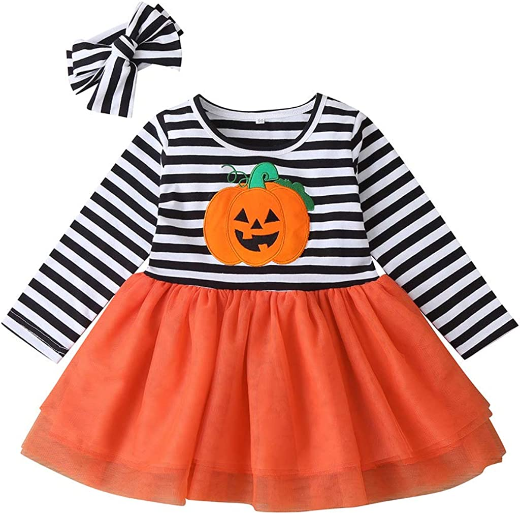 MOLYHUA Toddler Baby Christmas Outfits Kids Girls Pumpkin Print Princess Dresses Striped Tutu Skirts Long Sleeve Top T Shirt Dress Halloween Costume