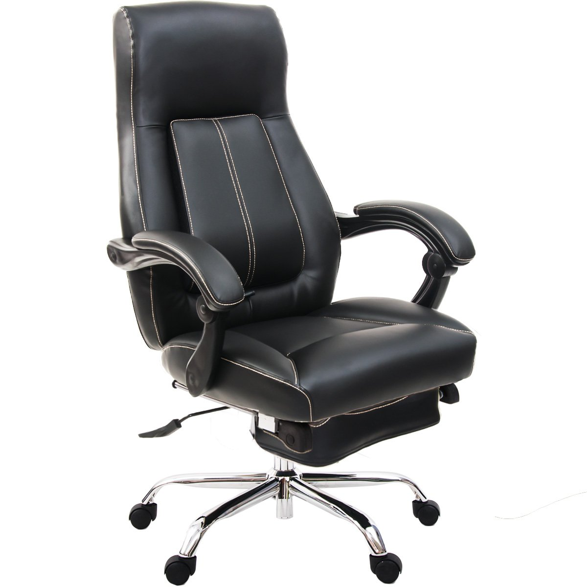 ModernLuxe Inno Series High Back Leather Executive Swivel Home Office Chair with Adjustable Pivoting Lumbar and Footrest (Black)