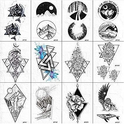 yyyDL etiqueta engomada colorida del tatuaje Acuarela Geométrica ...