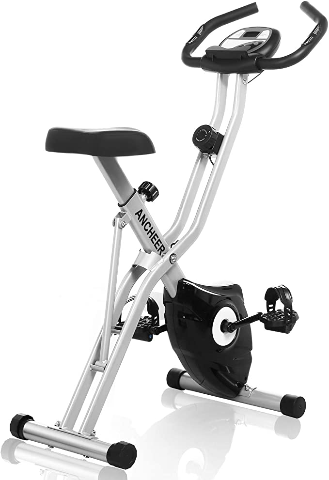 ANCHEER Folding Exercise Bike, Magnetic Upright Bike with App Program, Compact Workout Bike with 10-Level Resistance & Tablet Stand & Large and Comfortable Seat