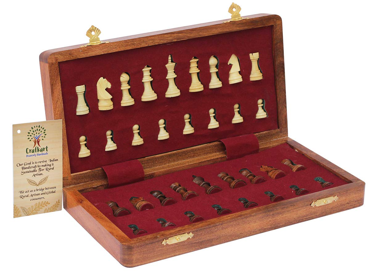 "Portable Chess Game Handmade in Fine Wood with Storage for Chessmen 12.5/"" Magnetic Wooden Folding Board Deals on Best 12.5 Inch Chess Set Crafkart Travel Chess Set with Extra Queen"