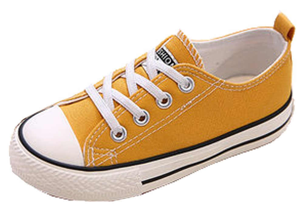 VECJUNIA Boys Girls Classic Solid Color Wide Toe Lace Sneakers School Sport Canvas Shoes Yellow 5 M US Toddler