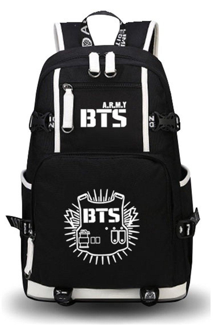 JUSTGOGO Luminous Korean Casual Daypack Laptop Bag College Bag Book Bag School Bag Backpack (Black 1)