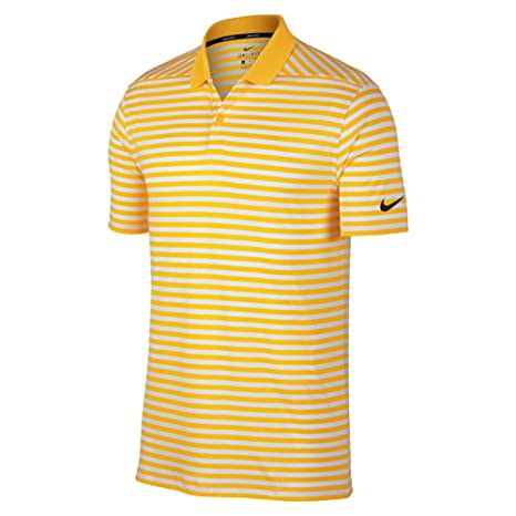 NIKE New DRI FIT Victory Stripe Golf Polo Amarillo/White/Black 4X ...