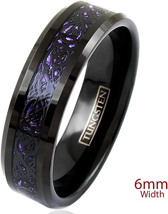 His /& Hers Custom Engraving 8mm6mm Tungsten Carbide Celtic Knot Dragon Design over Black Carbon Fiber Inlay Wedding Band Ring Set