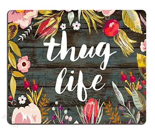 Pingpi Mouse Pad Floral, Vintage Colorful Floral Wreath Retro Old Wood Art, Thug Life Funny Quotes Mousepad Mat