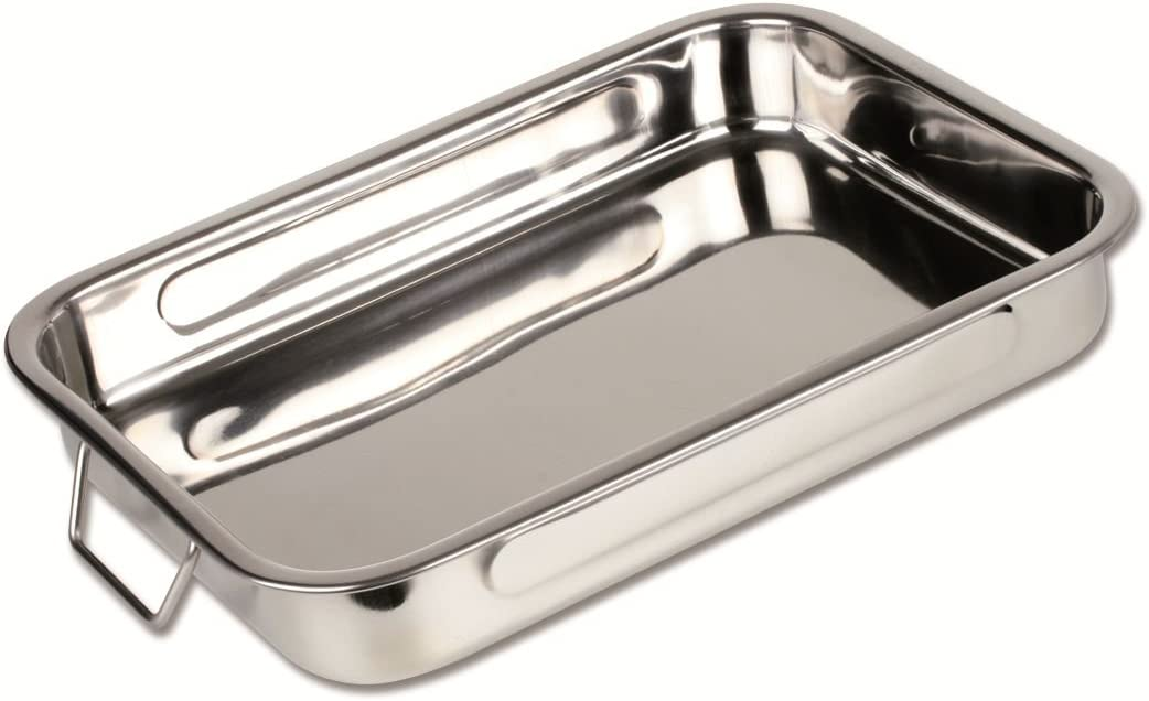 Chef Direct Stainless Steel Roast Pan with Grill Rack Folding Handles Rectangular Lasagna Pan for Baking, Grilling, Roasting OTG Oven Safe With Grill Roasting Rack 40cm X 28cm