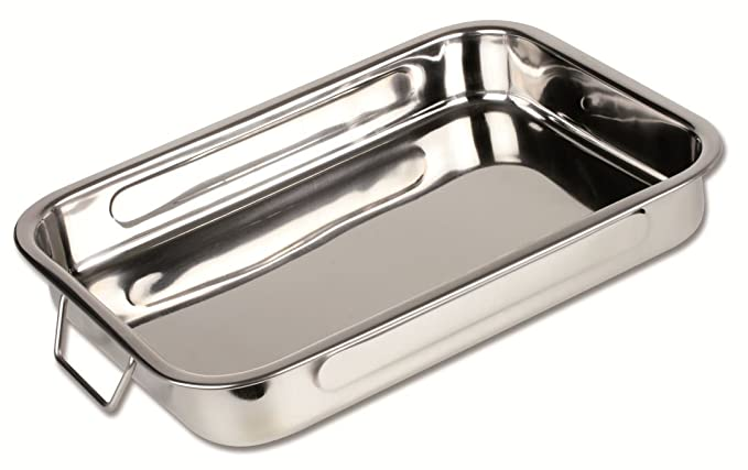 Chef Direct Stainless Steel Roast Pan with Folding Handles Rectangular Lasagna Pan for Baking, Roasting, Grilling, OTG Oven Safe (L - 25 cm x W - 18 ...