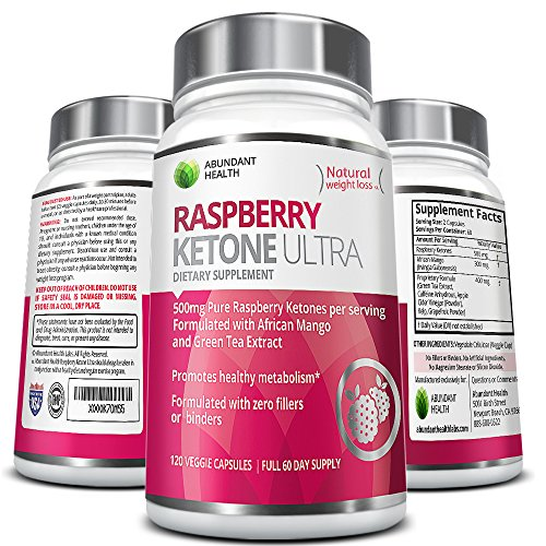 Raspberry Ketone ULTRA - 500MG Pure Raspberry Ketones per Serving with African Mango and Green Tea Extract for Weight Loss Maximum Strength Blend - No Fillers or Binders Non-Stimulating Dietary Supplement - 120 Vegetarian Capsules - Full 60 Day Supply ...