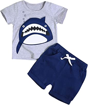 Amazon Com Toddler Baby Boy Clothes Shark Print Short Sleeve T Shirt And Shorts Cotton 2pc Summer Outfit Set Clothing
