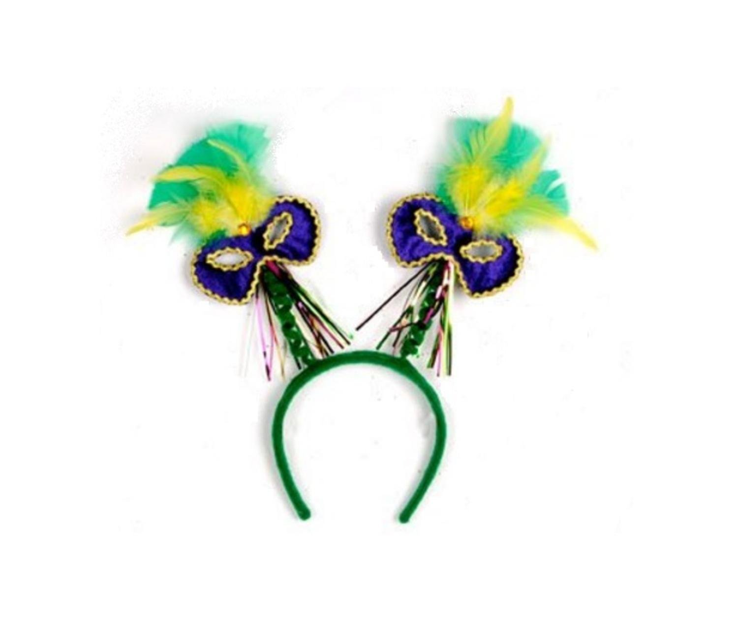 Club Pack of 12 Mardi Gras Mask with Feathers Bopper Headband Party Favors by Party Central