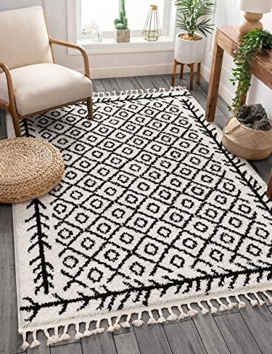 Well Woven Allie Black Moroccan Shag Diamond Trellis Pattern Area Rug 8×10 7 10 x 9 10