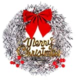 YJYDADA 30cm Simulation Rattan Red Flower Bow Hanging Wreath Christmas Decoration Party (Sliver)