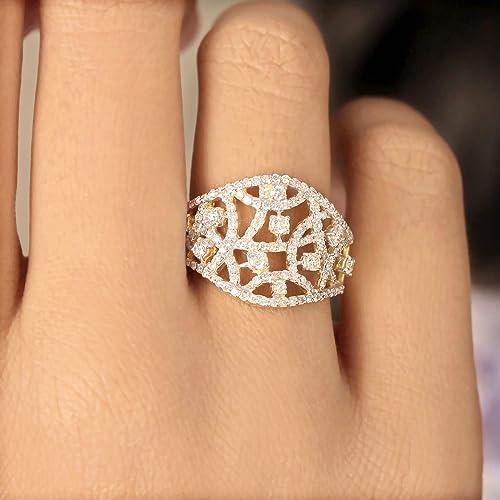 14K Gold Diamond 925 Sterling Silver Designer Cocktail Ring Handmade Jewelry