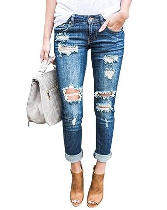 Moollyfox Slim Troué Femme Jeans Destroy À Pantalons Déchirés 1a1vq7ycFr