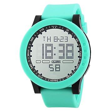 Y56 Sport LED Resistente al Agua Digital Watch Reloj de Pulsera Mode Outdoor Cuarzo analógico Hombre Relojes Chica Joven Fecha Mujer, Color Verde: ...