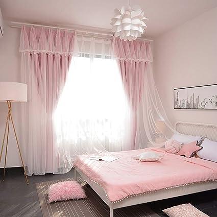 Jh Mm Principessa Wind Tenda Tulle Shading Mantovane Moderno Camera Da Letto Soggiorno Tenda Rosa Doublesided 2 5 2 7 Amazon It Casa E Cucina