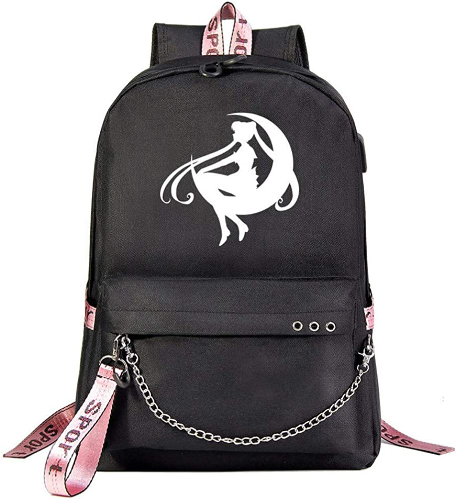 """Gumstyle Sailor Moon Anime 15.6"""" Laptop Backpack with Chain Schoolbag for Grils"""