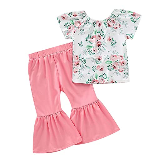 42d1aa71f466 Amazon.com  Loyalt Toddler Baby Girls Cute Floral Short Sleeve Tops+Flares  Pants Set Outfits Set for 0-4 Years Pink  Clothing