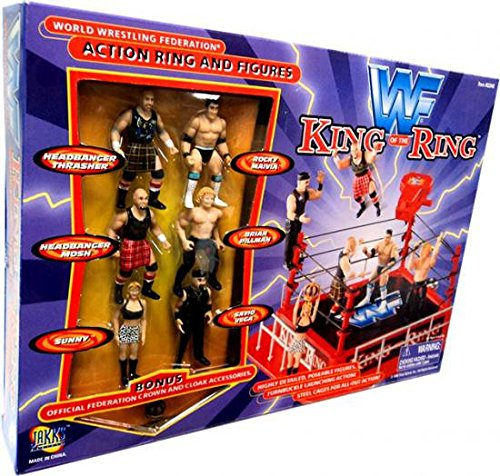(WWF Jakks Pacific King of the Ring Action Ring with 6 Mini Figures)