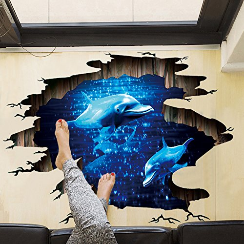Amaonm Removable Creative 3D Dolphin Swiming in the Deep Blue Sea Ocean Wall Decals Stickers Girls Nursery Room Walls Decorations Art Decor Home Decal Classroom Bathroom Stickers for Kids Baby Boys Dolphin Wall Decor